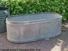 Jardinière ovale zinc strié GM, déco campagne, Tobs