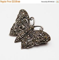 Sterling Marcasite Butterfly Brooch - Silver Insect Art Deco Pin