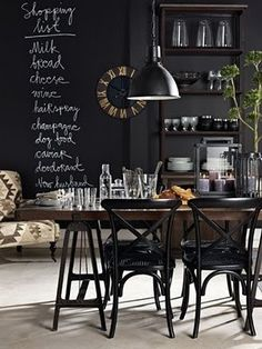 Industrial decor style is perfect for any interior. An industrial home is always. - Home Decor Designs Kitchen Chalkboard, Chalkboard Paint, Black Chalkboard, Blackboard Wall, Küchen Design, House Design, Interior Design, Design Ideas, Interior Shop