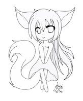 Chibi Fox Girl Lineart By Joakaha Drawing Chibi Girl Drawings