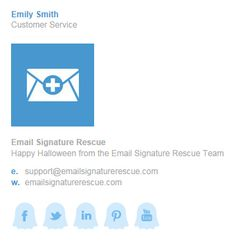 Create your own SPOOKY email signature this Halloween, complete with GHOSTS social icons. Create yours instantly at http://emailsignaturerescue.com/halloween