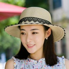 Summer lace straw sun hat for women UV protection