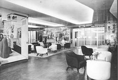 SS Andrea Doria - another view of First Class foyer