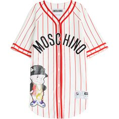 Moschino Baseball Jersey T-Shirt Dress (€575) ❤ liked on Polyvore featuring dresses, tops, shirts, t-shirts, multicolor, white tee shirt dress, t shirt dress, v neck baseball jersey, short sleeve t shirt dress and white leather dress