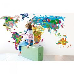 Kids love looking at big maps like this, cool idea for the bedroom or another area of the house!
