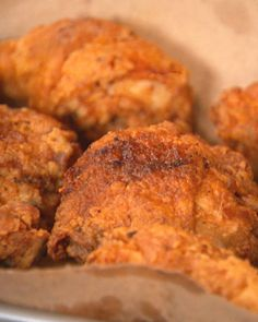 Quick fried chicken:  1 quart buttermilk or milk   2 tablespoons Tabasco or other hot sauce   1 3- to 3 1/2- pound chicken, cut into 8 pieces and each breast cut in half again (reserve the neck, back, and wing tips for another purpose)   1 cup all-purpose flour   1 1/2 teaspoons coarse salt, plus a little more for sprinkling   1/2 teaspoon freshly ground black pepper   1/4 teaspoon cayenne pepper   2 cups peanut oil, vegetable oil, bacon fat, or lard