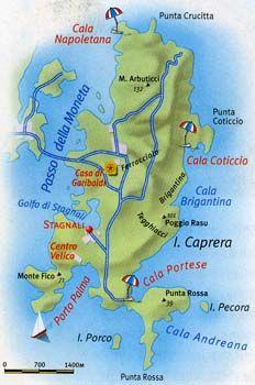 Sardegna Isola Di Caprera Mappa Jpg 232 350