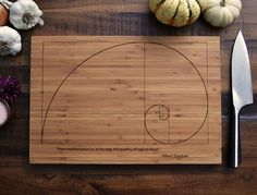 Fibonacci Spiral, Custom Geekery Engraved Bamboo Cutting Board w/ Einstein quote