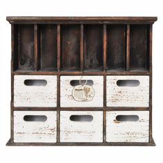 Distressed Wood Cabinet with Cubbies – lightaccents.com