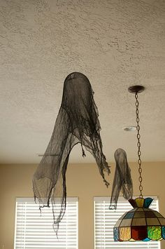 Dementors and ghosts made from cheesecloth, and fabric stiffener.  Tutorial on post.