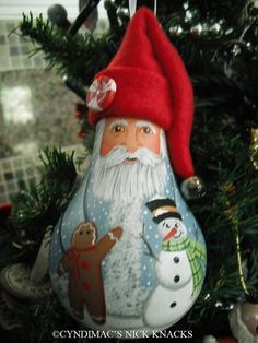 Blue or Red Santa with Gingerbread & Santa Light bulb Ornament