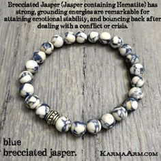 "Blue Spot Jasper has strong healing and stable grounding powers. Emits slow and constant energy, allow you to be ""in the moment"" in the physical body but conscious of your surroundings. Promotes courage, builds inner strength, and brings an air of calmness. TRANQUILITY: Blue Spot Jasper Yoga Mala Bracelet"