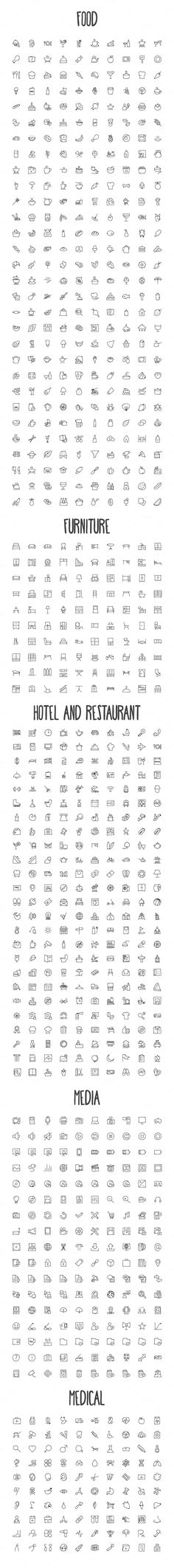 2440 Hand Drawn Doodle Icons Bundle by Creative Stall on Creative Market                                                                                                                                                                                 More