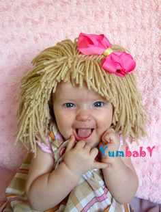 Baby Hat Girl Wig Cabbage Patch Hat Halloween costume por YumbabY, $29,95