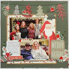 Jana Eubank Simple Stories Merry and Bright Layout 1 600 Christmas Scrapbook Layouts, Scrapbook Paper Crafts, Scrapbook Supplies, Scrapbook Cards, Christmas Layout, Simple Stories, Scrapbook Layout Sketches, Scrapbooking Layouts, Family Christmas