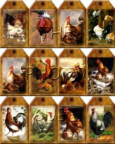 Free Primitive Tags of roosters   RoOSteRs/CHiCKeNS - pRiMiTiVe CouNtrY ViNtAgE ArT Hang/Gift Tags ...