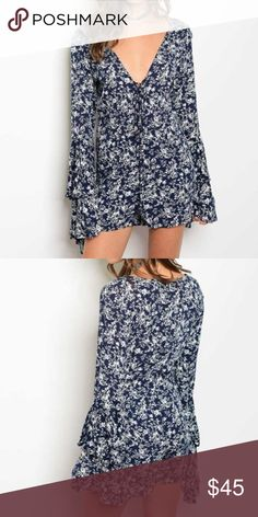 New Navy Blue & White Floral Boho Romper Long bell sleeve plunging neckline floral bohemian style romper available in small, medium, and large 💕 100% Rayon 💕 If you need any help with sizing or have any questions at all, please don't hesitate to let me know! Dresses Mini