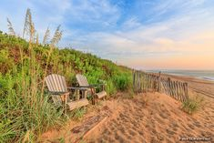 A pair of Adirondack chairs with a great view of Kitty Hawk beach on the Outer Banks. Kitty Hawk, Adirondack Chairs, Great View, Banks, Beach House, Vineyard, Country Roads, Gallery, Water