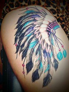 Indian headdress to represent my daughter ! - Indian headdress to represent my daughter ! Indian headdress to represent my daughter ! Tattoo Girls, Girl Leg Tattoos, Body Art Tattoos, Sleeve Tattoos, Tatoos, Indian Chief Tattoo, Indian Headdress Tattoo, Indian Girl Tattoos, Cowgirl Tattoos