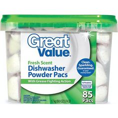Great Value Fresh Scent Dishwasher Powder Pacs With Grease Fighting Action, These things are awesome! Use white vinegar as your rinse agent and no hard water scum. Dishwasher Tablets, Hard Water, Sans Serif, The Dish, Grease, Powder, Fragrance, Stains, Cleaning