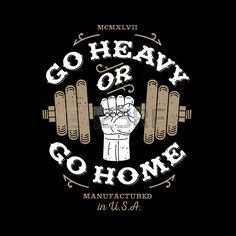 "monochrome fitness bodybuilding hipster vintage label , badge "" go heavy or go home "" for flayer poster logo or t-shirt print with arm hand and dumbbell - stock vector Frases Fitness, Gym Frases, Fitness Logo, Fitness Quotes, Fitness Tips, Crossfit Shirts, Crossfit Gym, Gym Shirts, Hipster Vintage"