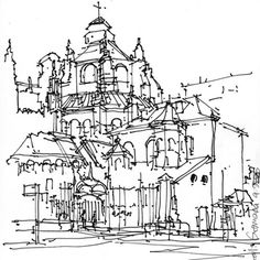 Granada, the cathedral, by asnee. Something so beautiful about the simplicity of a pen and ink drawing.