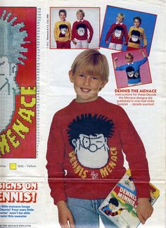 Dennis the Menace sweater scan. To fit chest sizes 32 inches. Dennis The Menace, Knitting Patterns, Knit Crochet, Baseball Cards, Yellow, Fit, Sweaters, Knitting Paterns, Pullover
