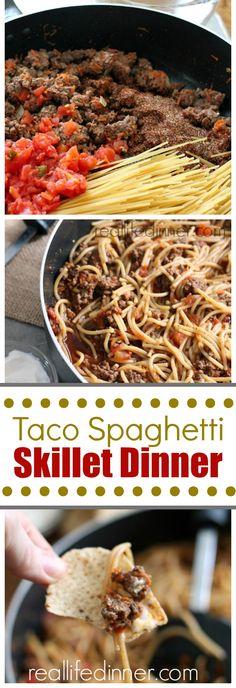 Taco Spaghetti Skillet Dinner Recipe for the family. Easy one pot week night dinner you'll make over and over again. Real Life DInner ~ http://reallifedinner.com