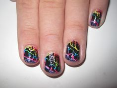 rainbow crackle nail design