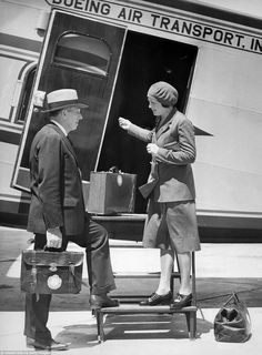 1930: The 25-year-old registered nurse Ellen Church (pictured) from Iowa welcomes a traveller at the door of a  Boeing 80 A. The  idea of recruiting female flight attendants, particularly nurses, goes back to the operations manager of Boeing Air Transport who stressed that they would have a calming effect on passengers