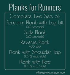 Planks for Runners and Plank Workout