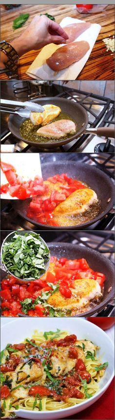 Tomato and Basil Chicken Pasta by recipeknead #Pasta #Tomato #Basil
