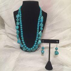 "23""- 2 Strand Turquoise Necklace & Earring Set, Western Wear Jewelry, Country Modern Sheek by JCCUSTOMSDESIGNS on Etsy"