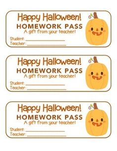 "FREEBIE 50! ""Halloween"" Funny Pumpkin - Homework Pass – Holiday FUN! (full color version) ***THIS OFFER IS ACTIVE!*** Follow this board for updates on the next Rich Carlson's TPT Follower ""FREEBIE 50"" offer."