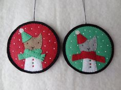 felt cat ornaments