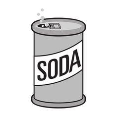 PublicDomainVectors.org-Illustration vectorielle d'un bidon ouvert de boisson de la soude. Niveaux de gris de dessin d'une boîte de soda.