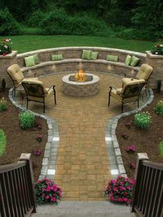 Fire pit! I really like the crescent seating