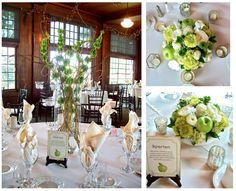 Apple Green Centerpieces with Bells of Ireland and Curly willow branches have hanging votive candles as tall centerpiece for Michigan Wedding  Also love the Apple themed table numbers and rustic wood panel walls at Waldenwoods in Hartland MI