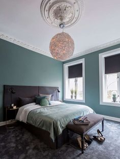 Modern bedroom with petrol coloured walls velvet bedspread and grey headboard. White Bedroom, Modern Bedroom, Master Bedroom, Oval Room Blue, Grey Wall Color, Velvet Bedspread, Grey Headboard, Bedroom Wall Colors, Modern Kitchen Design