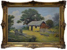 Adolf Guntert, `Paisagem com Cabana e Carroça` - ost. - med. 43 x 60 cm