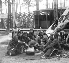 Indian group with watermelon :: Western History