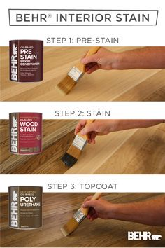 For a quick and easy way to create a trendy look with your wooden furniture and decor, turn to BEHR® Oil-Based Interior Wood Stain. It's as simple as 1,2,3 to apply a pre-stain, stain, and topcoat layer. Available in select stores. Click below to learn more.