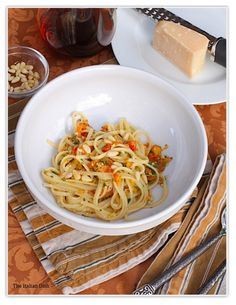 The Italian Dish - Posts - Linguini with Roasted Pepper Sauce and PineNuts