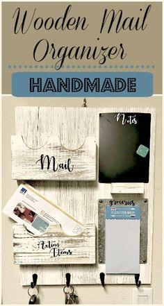 Super cute wooden mail organizer. #homedecor #homeorganization #organize #ad #walldecor #homedecor #homemade