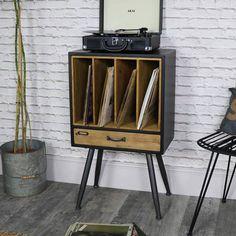 rangement vinyle design en bois style rétro sur pieds avec casiers pour disques tiroir et support platine vinyl