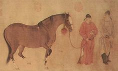 Part of an early Yuan Dynasty painting by Ren Renfa shows Mongol grooms tending a horse. The Mongols are famed as horsemen. Horse Art, Oriental, Asian, Horses, History, Photograph, Painting, Animals, Photography