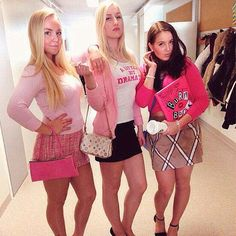 Pin for Later: Cheap Halloween Costumes That Will Love Mean Girls Mean Girls Halloween Costumes, Trio Costumes, Mean Girls Costume, Halloween Costumes For Girls, Halloween College, Costumes For Women, Costume Ideas, Dynamic Duo Costumes, Mean Girls Party