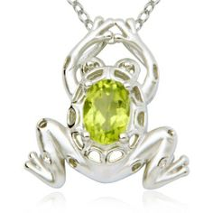 "Sterling Silver Genuine Peridot Frog Pendant Necklace, 18"" Amazon Curated Collection. $23.00. Made in China. The natural properties and composition of mined gemstones define the unique beauty of each piece. The image may show slight differences to the actual stone in color and texture.. Rhodium plated. Save 67%!"
