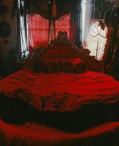 Goth Bedroom, Bedroom Red, Room Ideas Bedroom, Dream Bedroom, Black Bedrooms, Dark Home Decor, Goth Home Decor, Gothic Room, Gothic House