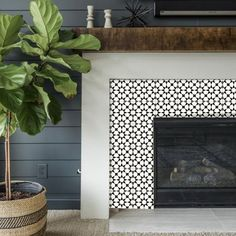 remodel tile Tile Sticker Kitchen, bath, floor, fireplace Waterproof & Removable Peel n Stick: Fireplace Tile Surround, Fireplace Logs, Farmhouse Fireplace, Fireplace Remodel, Fireplace Surrounds, Fireplace Design, Paint Fireplace Tile, Fireplace Makeovers, Stone Fireplaces